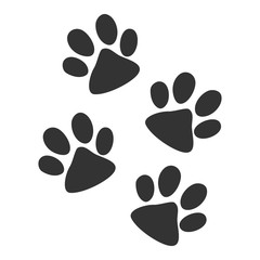 Dog tracks of paws. Silhouette of paws, isolated on white background. Dog. Vector illustration. EPS 10.