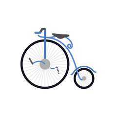 Retro bicycle with large front wheel. Vector illustration. Blue of bicycle. EPS 10.
