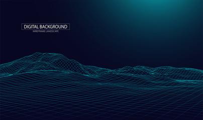 Photo Blinds Night blue Wireframe landscape background. Futuristic vector illustration.