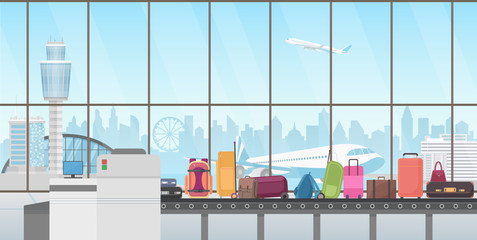 Conveyor belt in modern airport hall. Baggage claim cartoon vector illustration.