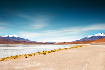 High-altitude lagoon on Altiplano plateau, Bolivia.