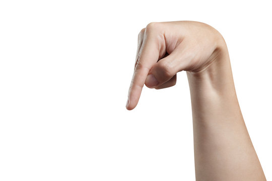 Hand pointing down or touching something, isolated on white background