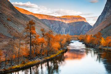River in mountain gorge at sunset, autumn landscape. Altai, Siberia, Russia