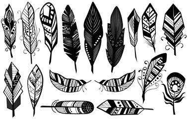 Peerless tribal design of decorative black feathers silhouette set vector illustration.