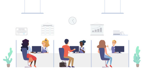 People at credit department in bank. Consultation and service office interior with employees and customers vector illustration.