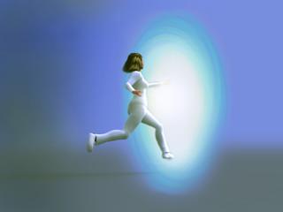 mujer ingresando en un círculo luminoso