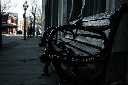 Bench on a city street