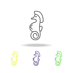 Seafood, seahorse colored icons. Element of asian cuisine illustration. One of the collection icons for websites, web design, mobile app