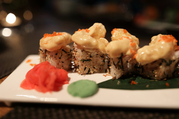 Uramaki Sushi with shrimp