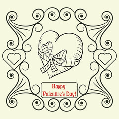 contour illustration coloring on the theme of Valentines day, heart tied with a ribbon with a bow, ready layout for design, postcards stickers and printed products