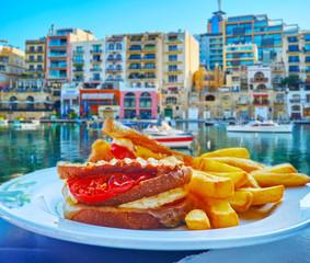 Morning sandwich in St Julian's, Malta
