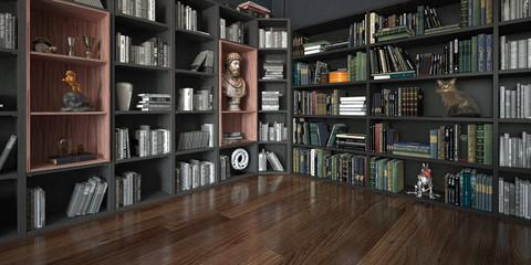 Stanza con grande libreria piena di libri e oggetti, con gatto, rendering 3d, illustrazione 3d