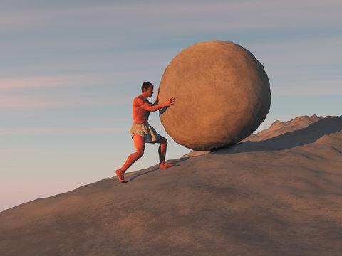Hombre empujando una gran piedra