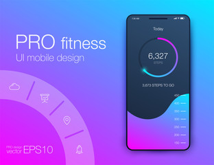 Fitness app. Ui ux design. UI design concept with web elements