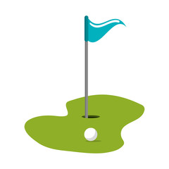 Golf flag and hole with ball