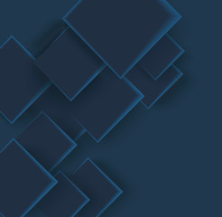 Abstract geometric shape from dark blue elements, vector background.