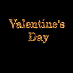 Valentine's Day. Fiery lettering on a black background