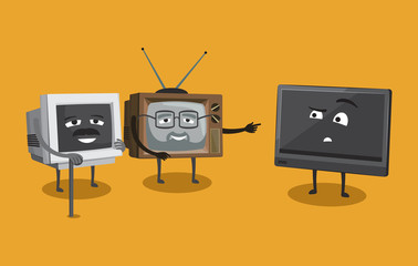 Old television in the store with televisions. Modern and retro style. Cartoon vector illustration.