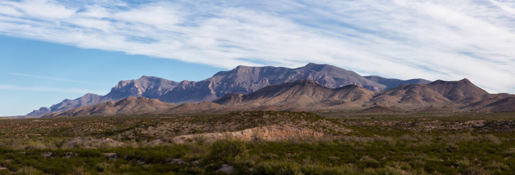 Beautiful Panoramic American Landscape during a sunny day. Taken North of El Paso, New Mexico, United States.