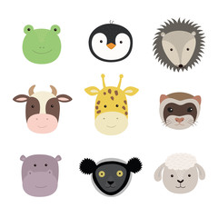 Set of cute funny animals frog, sheep, cow, giraffe, weasel, hippo, hedgehog, penguin, indri. Isolated objects on white . Vector illustration.