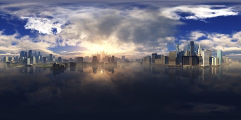 Wall Mural - HDRI, environment map , Round panorama, spherical panorama, equidistant projection, panorama 360, Modern city at sunrise in the fog over the water, skyscrapers at sunset over the water