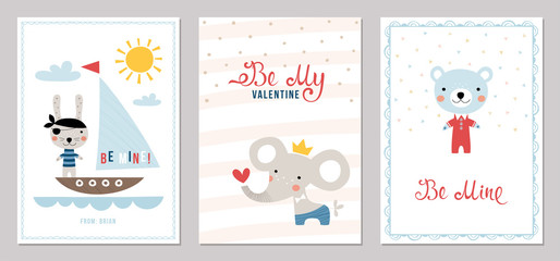 Valentine's Day card templates design. Vector illustration.