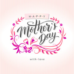 Happy Mother's Day greeting card on floral background. Vector illustration isolated.