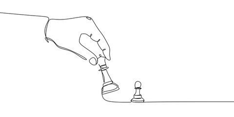 Pawn and bishop or queen chess pieces are drawn by one black line on a white background. Continuous line drawing. Vector illustration.