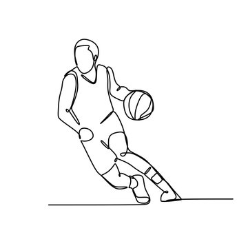 One single drawn continuous line boy playing basketball hand-drawn picture silhouette. Line art.