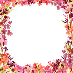 Hand drawn watercolor square frame with meadow small pink, red and orange flowers on white background. Design for cards, invitations, flyers.