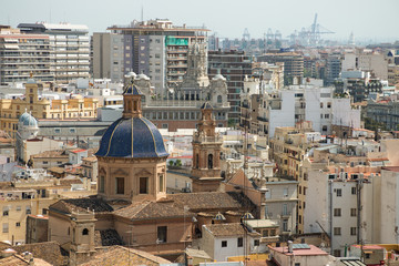 View of Valencia city from the bell tower of the Cathedral