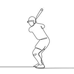 Single line drawing of baseball player vector illustration.
