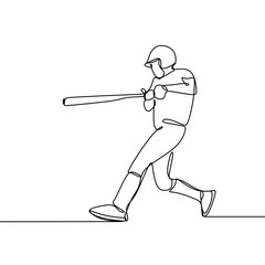 Continuous line drawing of baseball player vector illustration.