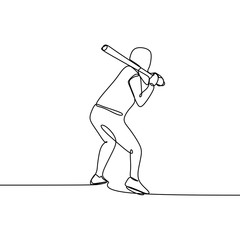 One line drawing of baseball player vector illustration.