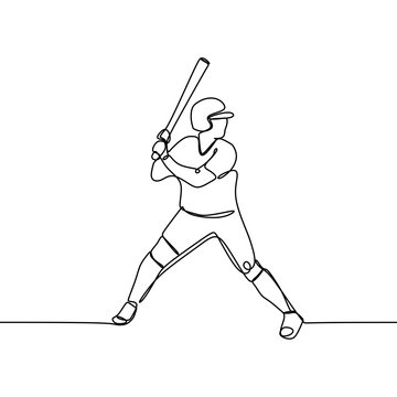 One line drawing of baseball player ready to hit the ball vector illustration.