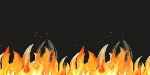 Bonfire night seamless pattern border. Cartoon flame isolated. Vector burning campfire. Midsummer fire festival flaming sign template. Fireplace in summer party banner, flyer background illustration