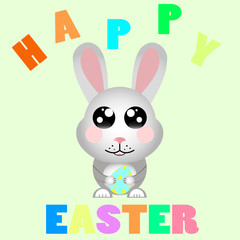 kawaii happy easter rabbit with easter colorful egg