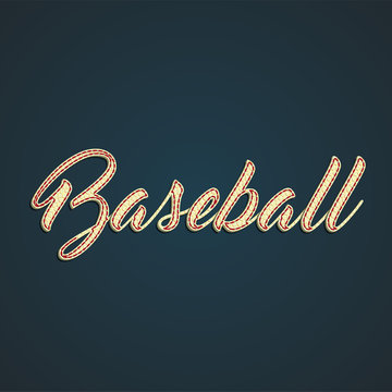 'Baseball' label made by leather, vector illustration