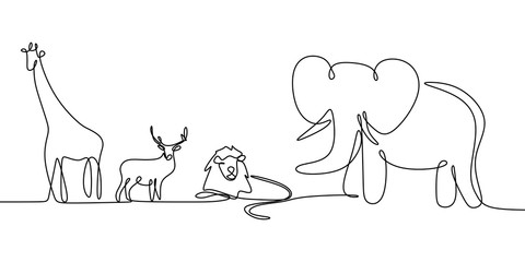 Animal continuous line drawing vector illustration with elephant, lion, giraffe, and deer.