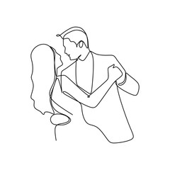 Elegant romantic couple in love one continuous line art drawing vector illustration minimalism style
