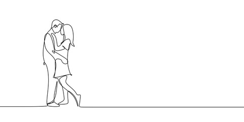 Romantic marriage one line drawing vector illustration