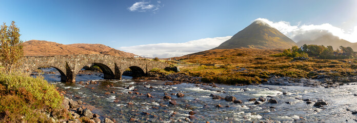 Scotland, Isle of Skye - panoramic view of Sligachan Bridge and Cuillin Mountains