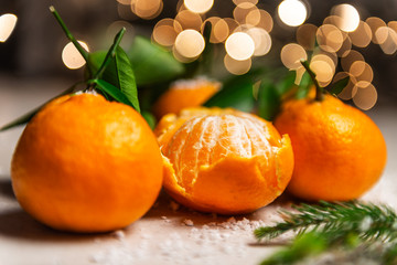Fresh Clementines or Tangerines with Xmas Lights