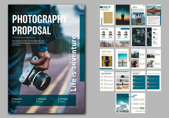 Photography Proposal Layout with Blue and Gold Accents