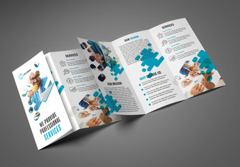 Trifold Brochure Layout with Teal Accents