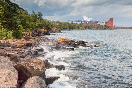 Taconite plant on shoreline of Lake Superior