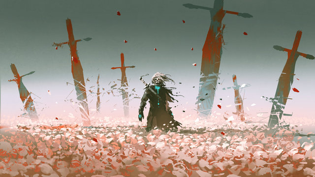 death knight standing alone in the rose field with big broken swords stuck into the ground, digital art style, illustration painting