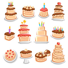 Cake set. Elements and icons collection. Vector
