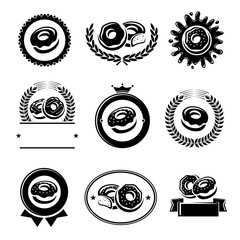 Donut labels and elements set. Collection icons donuts. Vector