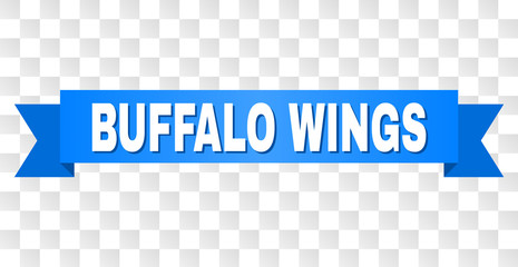 BUFFALO WINGS text on a ribbon. Designed with white caption and blue stripe. Vector banner with BUFFALO WINGS tag on a transparent background.